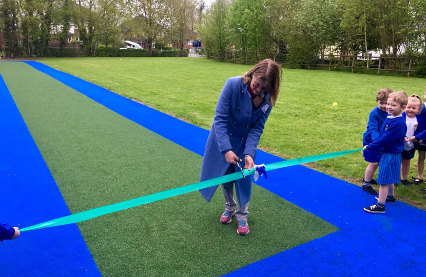 Ready, steady go! Rachel officially opens Holyoakes' brand new running track